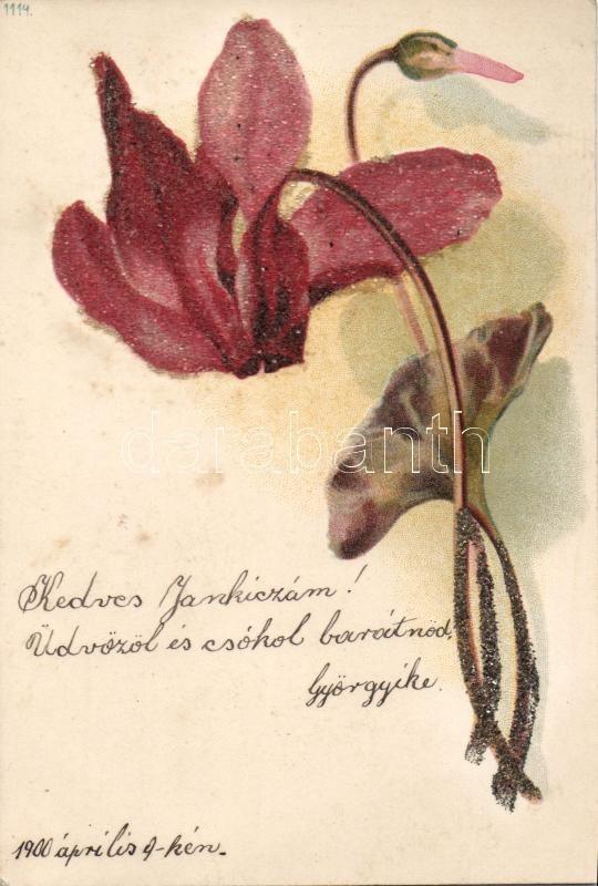 Flower decorated postcard, litho, Virág, díszített üdvözlőlap litho