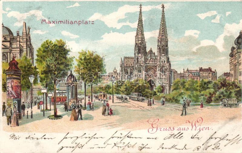 Vienna, Wien IX. Maximilianplatz / square litho