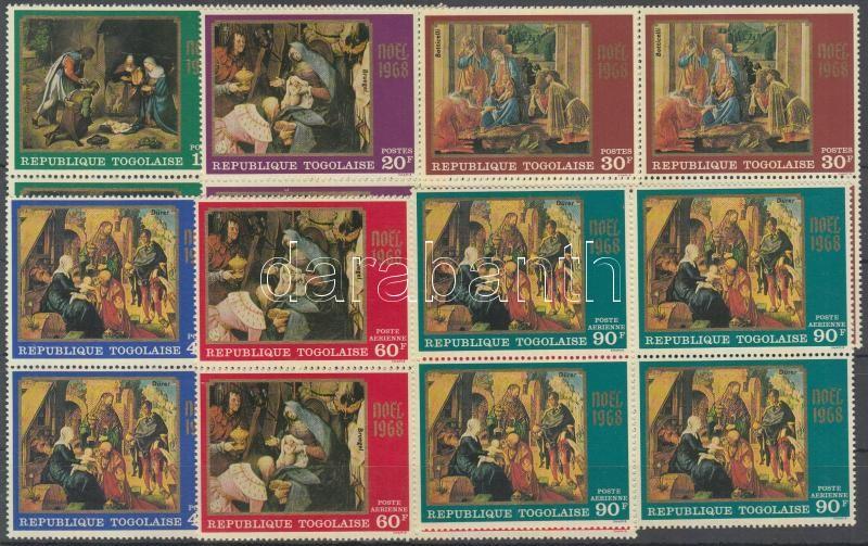 Christmas, Madonna paintings blocks of 4, Karácsony, Madonna festmények négyestömbök