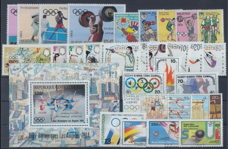 1983-1986 Olympic item complete sets + a block, 1983-1986 Olimpia tétel teljes sorokkal + 1 db blokk