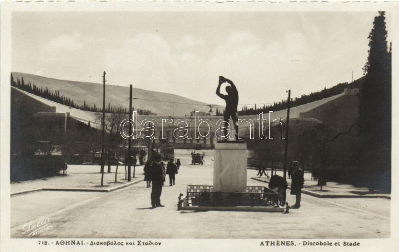 Athens, Discobole et Stade / Discobolus statue, Olympic Stadium