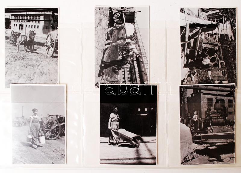 Fotó; cca 1950-1955 Ék Sándor (1902-1975): Épül Sztálinváros, jelzetlen vintage képriport, a szerző hagyatékából, 6 db fotó, 6x8 cm