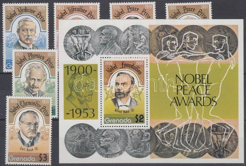 Nobel Prize winners set + block, Nobel-díjasok sor + blokk