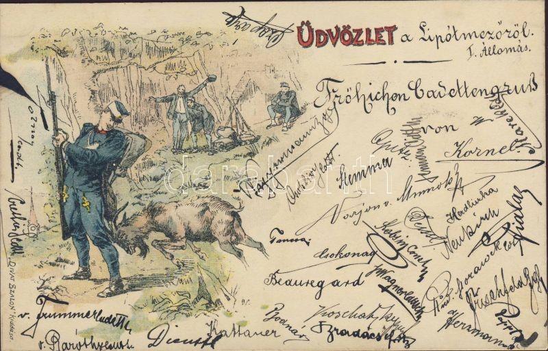 1899 Military camp, goat, humour, 1899 Katonai tábor, kecske, humor 'Divat Szalon' kiadása