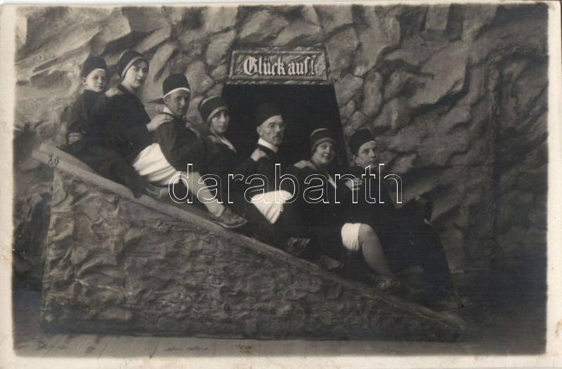 'Glück auf!' / 'Good Luck!' Family in miners' uniform, photo, Bányász család, fotó