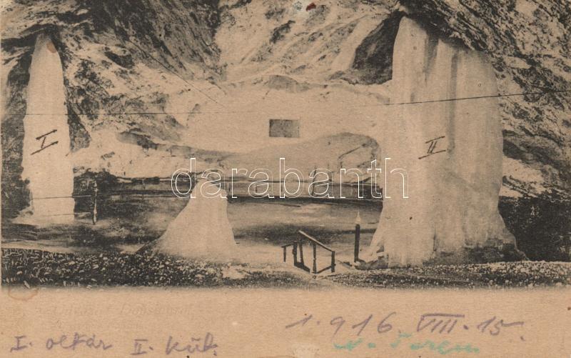 Dobsiná, ice cave, Pillar Hall, Dobsina jégbarlang, Oszlop-terem, Köhler Arthur kiadása
