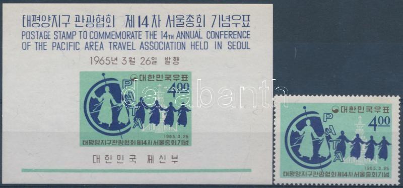 Pacific Tourism Conference stamp + impeforated block, Csendes-óceáni idegenforgalmi konferencia bélyeg + vágott blokk