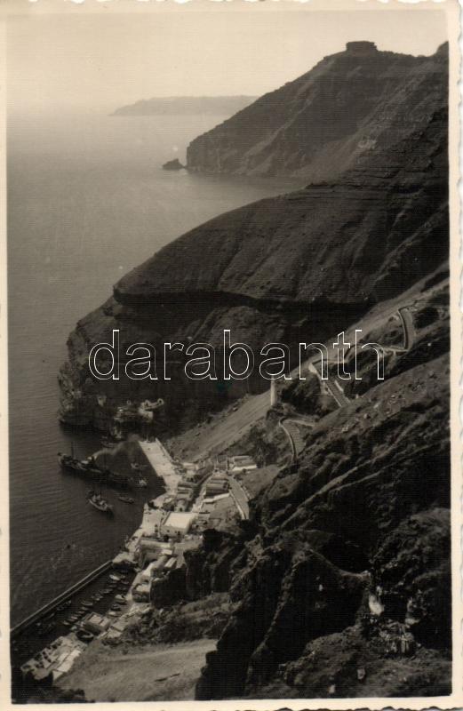 Santorini, port, stairs, ships