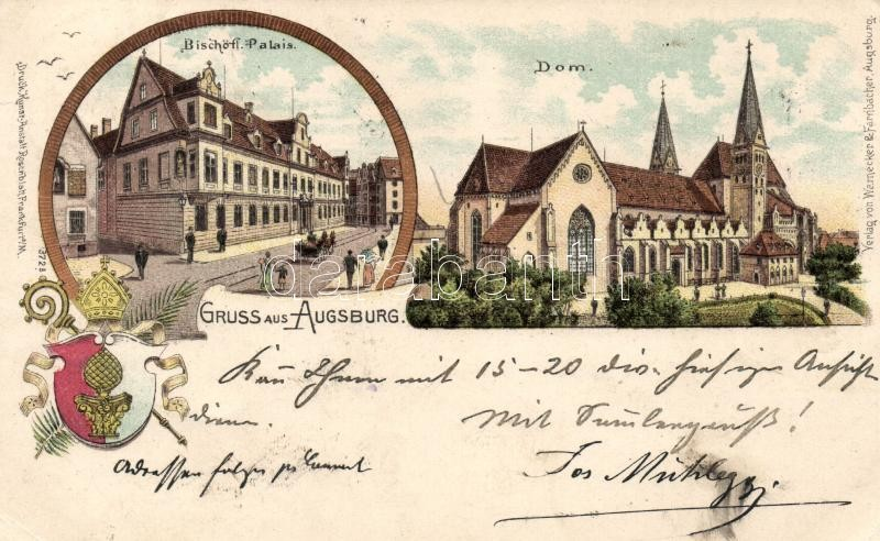 Augsburg, Bischöff Palais, Dom / episcopal palace, cathedral, litho