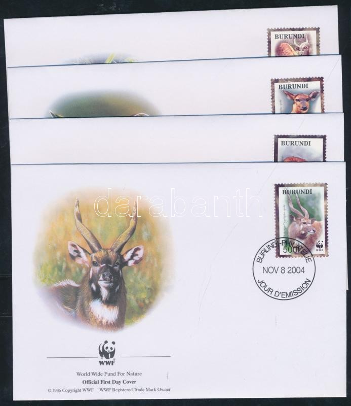WWF: Antelopes set on 4 FDC, WWF: Antilopok sor 4 db FDC-n