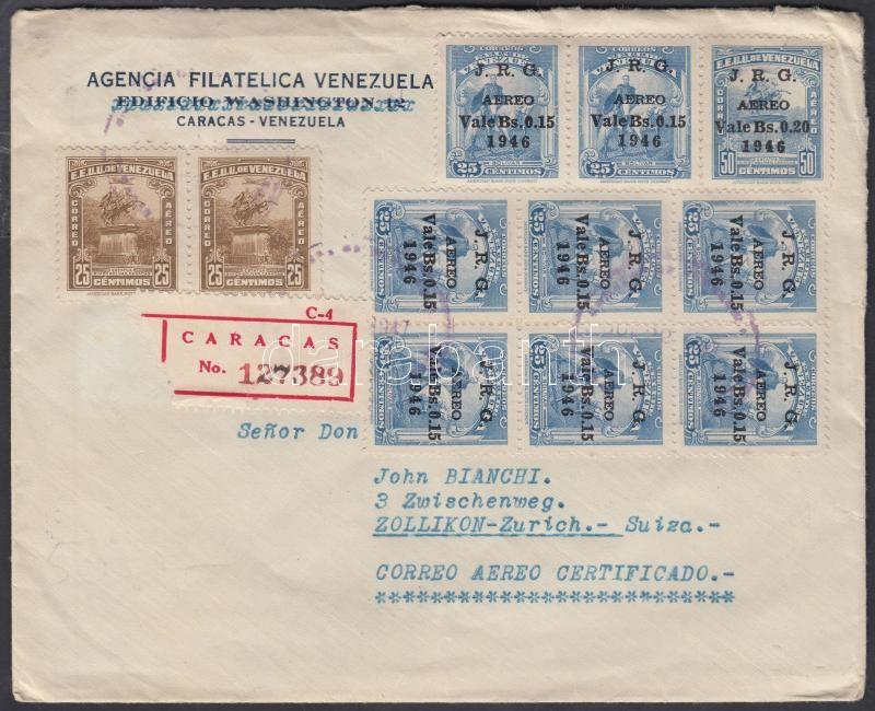 Registered airmail cover to Switzerland, Ajánlott légi levél Svájcba