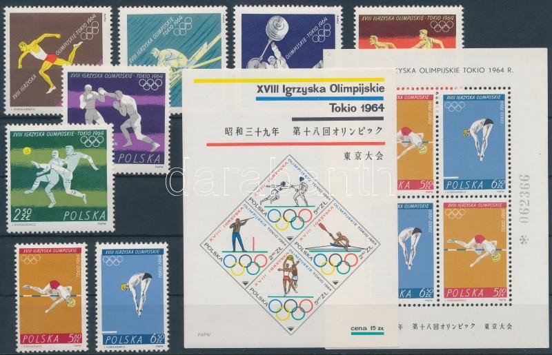 Summer Olympics set + block pair, Nyári olimpia sor + blokkpár