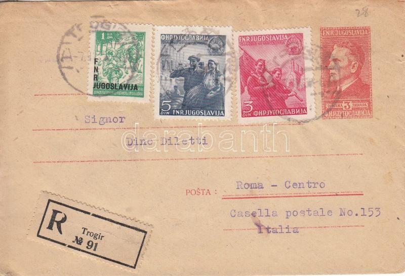 PS-cover with additional franking as registered cover to Roma, Díjkiegészített díjjegyes boríték Rómába