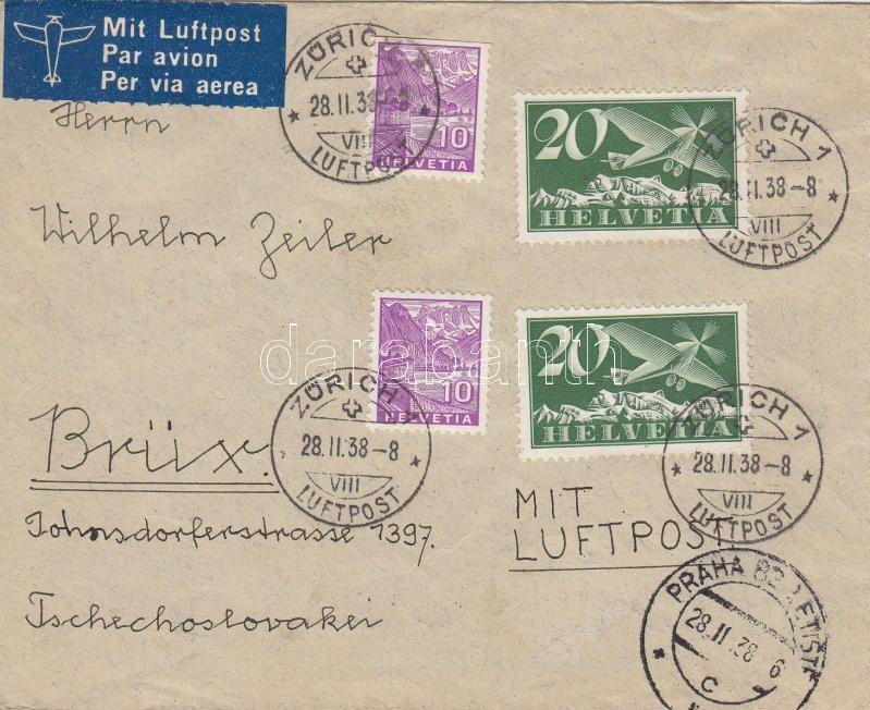 Airmail cover to Switzerland, Légi levél Svájcba