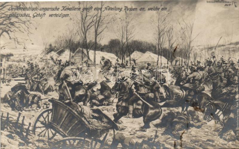 Austro-Hungarian cavalry attacks Russian soldiers in WWI, I. világháború Osztrák-Magyar lovasság támadása az oroszok ellen