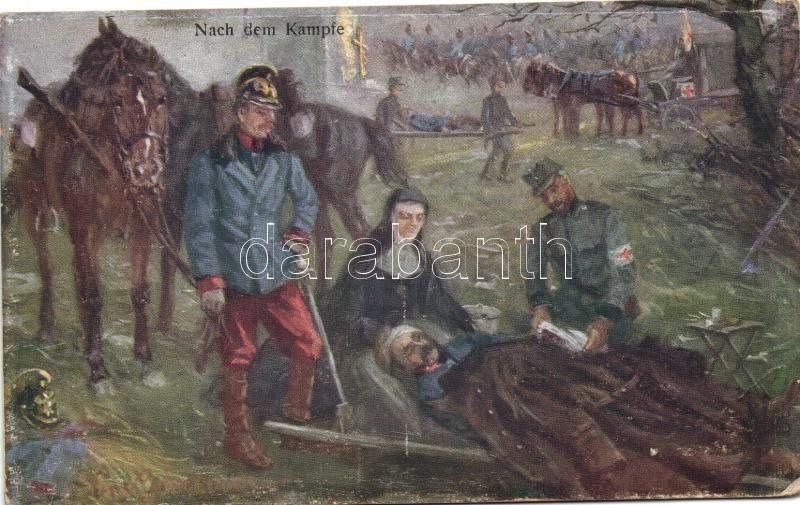 Nach dem Kampfe / After the battle, injured soldier, B.K.W.I. 259-56, artist signed, Sérült katona a csata után, B.K.W.I. 259-56