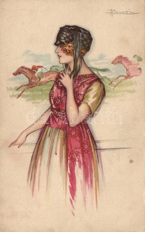 'Anna & Gasparini' Italian art postcard, lady at the horse race s: Busi, Olasz m,űvészeti képeslap, kalapos hölgy a lóversenyen, s: Busi