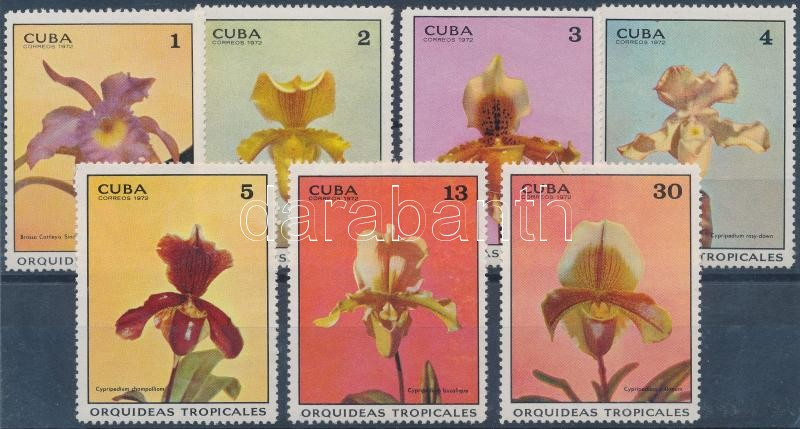 Orchids set + Stamp Exhibition block, Orchideák sor + Bélyegkiállítás blokk