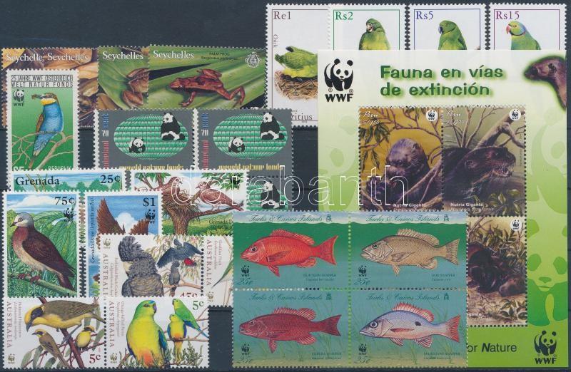 WWF motif item 1984-2004 25 diff. stamps, with complete sets + 1 block, WWF motívum tétel 1984-2004 25 db bélyeg, közte teljes sorokkal + 1 db blokk
