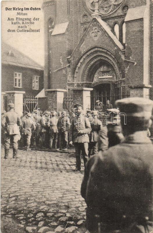 Jelgava, Mitau, Roman catholic church, WWI soldiers after the worship