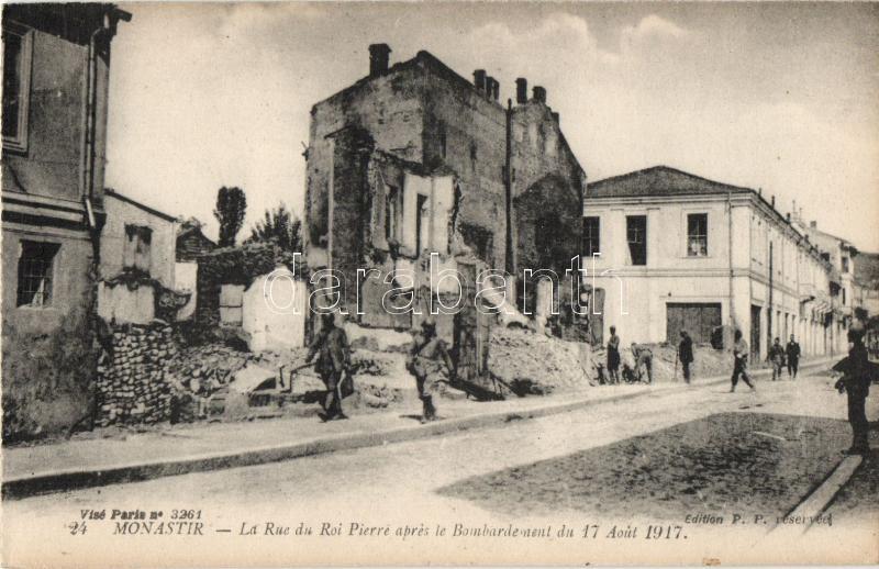 1917 Bitola, Monastir; Rue du Roi Pierre / street, after the bombing