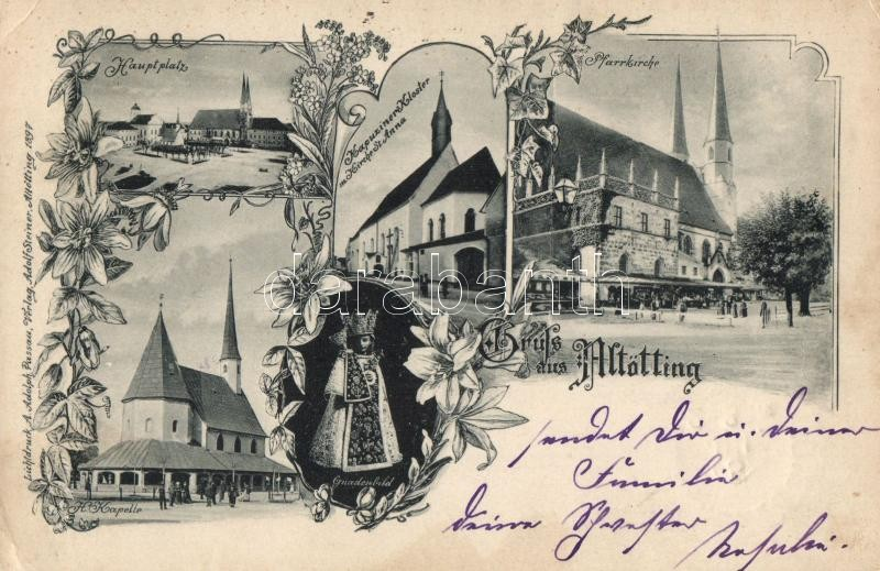 1898 Altötting, Hauptplatz, Kapuziner Kloster, Pfarrkirche, Kapelle / main square, church, floral