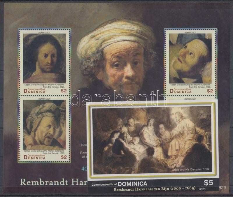 400th birth anniversary of Rembrandt mini sheet + imperforated block, 400 éve született Rembrandt kisív + vágott blokk
