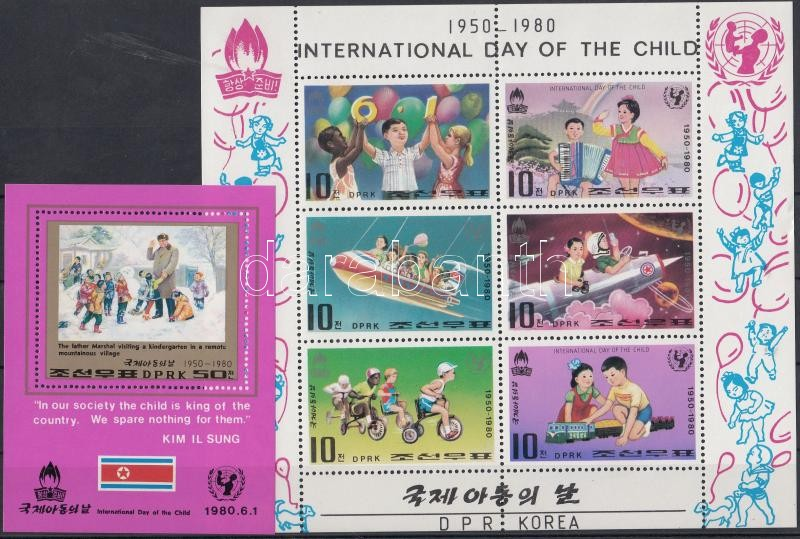 International Year of Children mini sheet + block, Nemzetközi gyermekév kisív + blokk