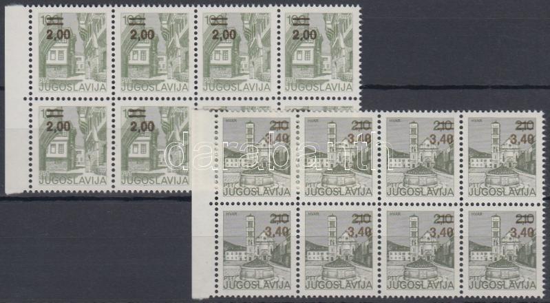Felülnyomott forgalmi bélyegek nyolcastömbökben, Overprinted definitive stamps in blocks of 8