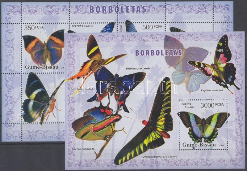 BUtterflies mini sheet + block, Lepkék kisív + blokk