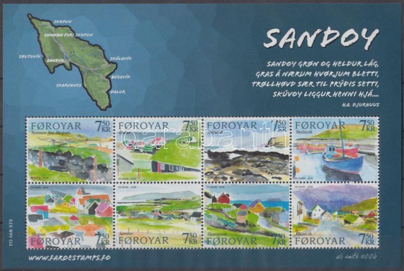 Landscape paintings: Sandoy Island mini sheet, Tájfestmények: Sandoy-sziget kisív