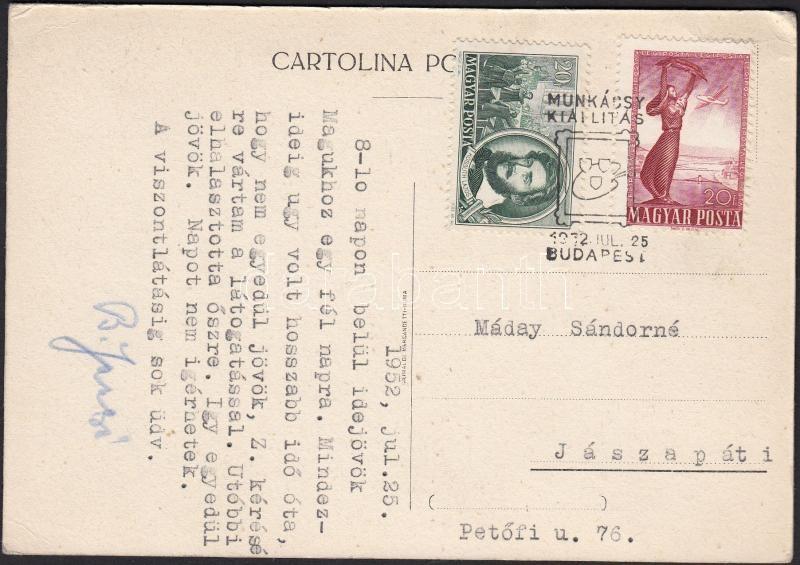 1952 Géppel írt képeslap Bartók János saját kezű aláírással