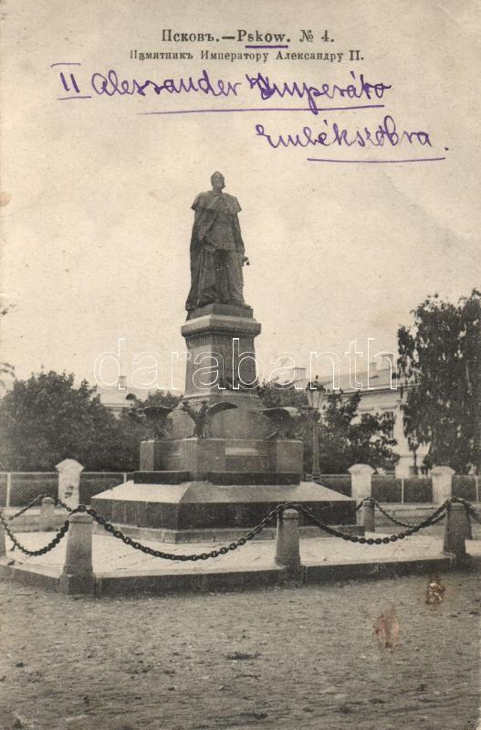 Pskov, statue of Alexander II