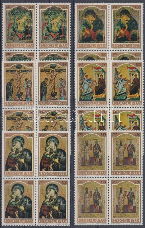 Középkori ikonfestészet sor négyes tömbökben, Medieval icon painting set in blocks of 4