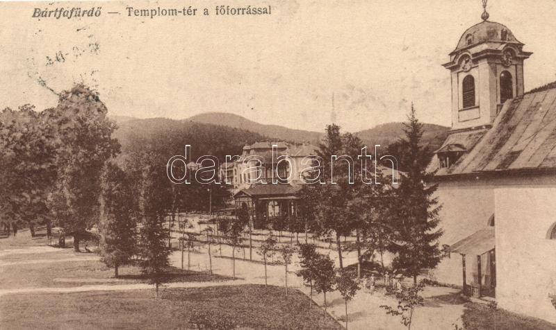 Bardejovské Kúpele, church square, Bártfafürdő, Templom tér, főforrás; Salgó Mór kiadása