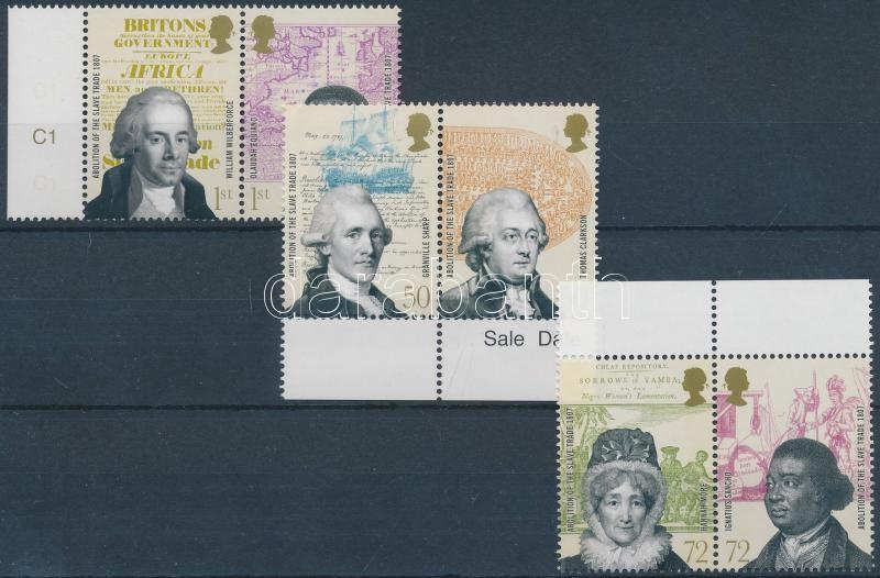 Abolition of the slave trade margin set (3 pairs), A rabszolga kereskedelem eltörlése ívszéli sor (3 pár)