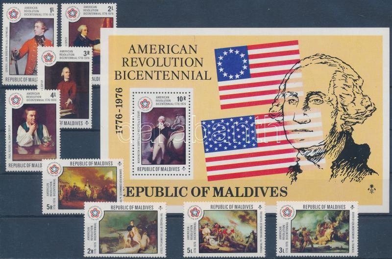 Bicentenary of USA independence set + block, 200 éve független az Amerikai Egyesült Államok sor + blokk