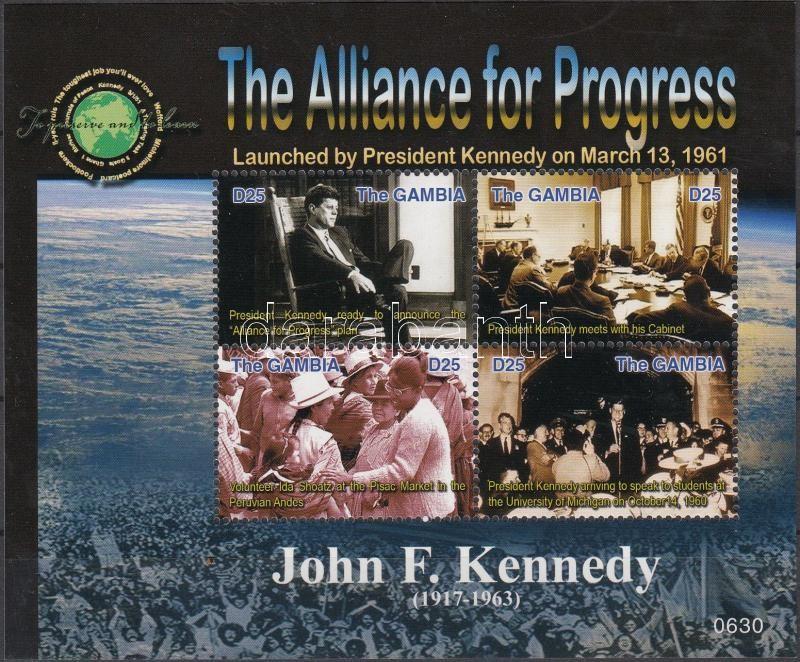 90th birth anniversary of John F. Kennedy minisheet, 90 éve született John F. Kennedy kisív