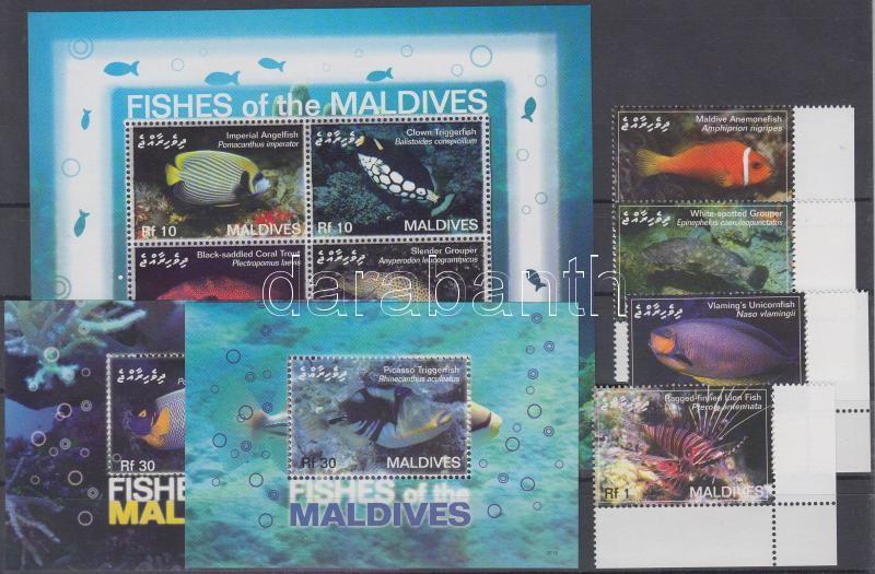 Fishes corner set + mini sheet + 2 blocks, Halak ívsarki sor + kisív + 2 blokk