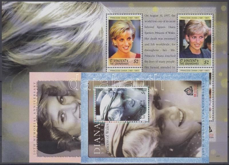 In memory of Princess Diana mini sheet + 2 blocks, Diana hercegnő emlékére kisív + 2 blokk