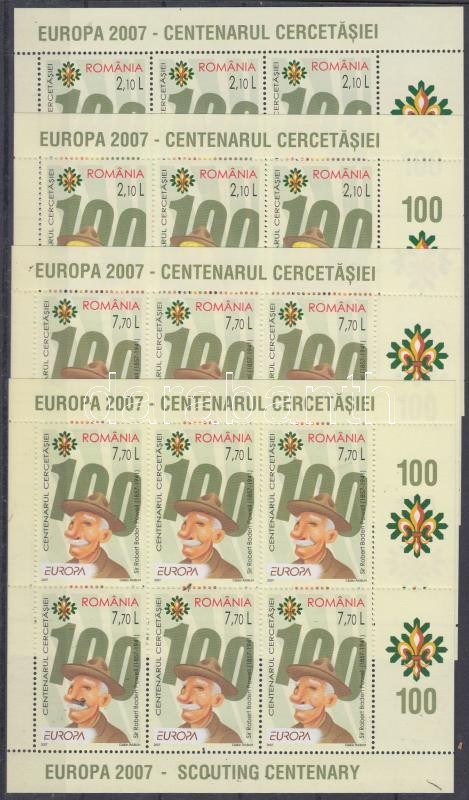 Europe CEPT Centenary of the scout movement minisheet set in 2-2 version, Europa CEPT 100 éves a cserkészmozgalom kisívsor 2-2 változatban