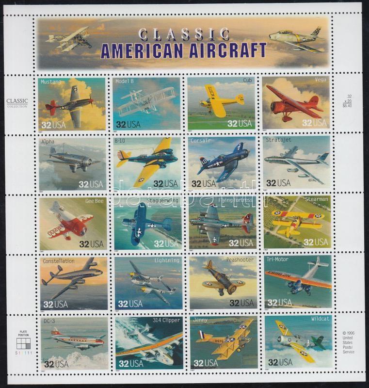 1997 Régi amerikai repülőgépek ív Mi 2652-1671