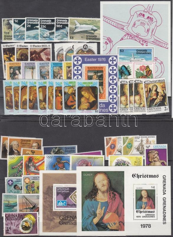 Grenada-Grenadines 97 stamps + 4 diff. blocks, Grenada-Grenadines Gyűjtemény rész 97 db bélyeg + 4 klf blokk