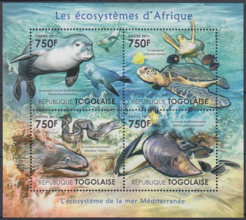 African wildlife - marine animals minisheet, Afrikai élővilág - tengeri állatok kisív