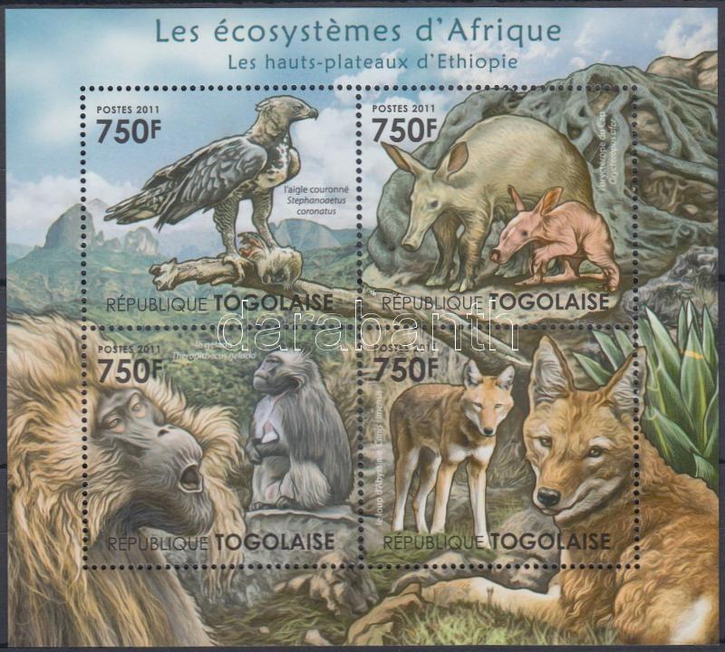 African wildlife - eagles, monkeys, wolves, ground pig minisheet, Afrikai élővilág - sas, majom, farkas, földimalac kisív