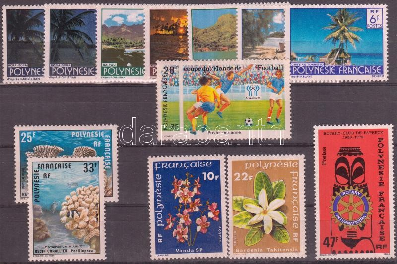 French Polynesia 13 diff. stamps, Francia Polinézia 13 klf bélyeg