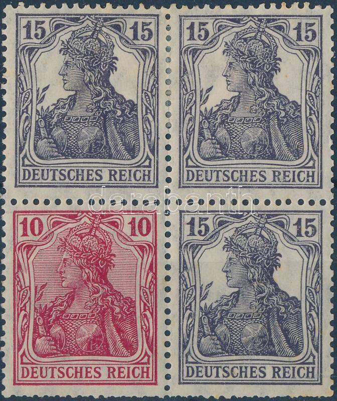 Germania stamp booklet pane block of 4, Germania füzetösszefüggés négyestömb