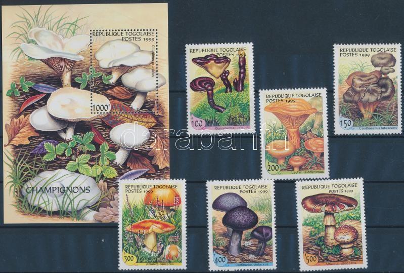 Mushrooms set + block, Gombák sor + blokk