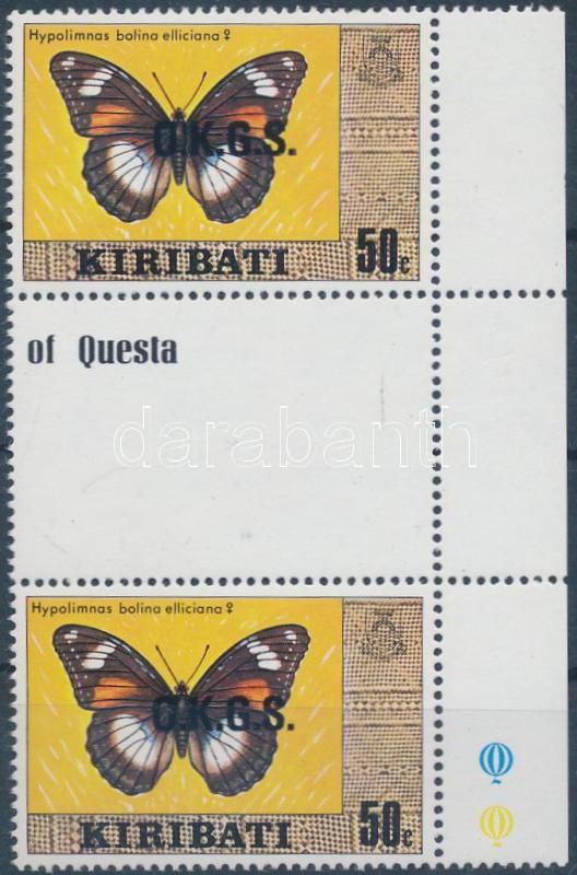 Official stamp margin sheet-centered pair with watermark, Hivatalos bélyeg ívszéli ívközéprészes pár vízjellel