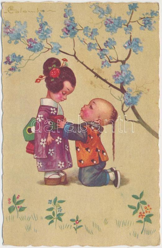Italian art postcard, Japanese folklore s: Colombo, Japán folklór, olasz művészeti képeslap s: Colombo